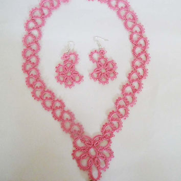 "Handcrafted jewelry set ""Scarlet Flower""- tatting - necklace and earrings - party cocktail - for Her - for bridesmaids - wedding"
