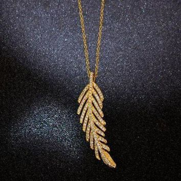 DCCKNQ2 Tiffany Women Fashion Feather Plated Necklace Jewelry-1