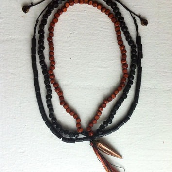 Handmade black & brown wood beaded unisex necklace - Volcano Store