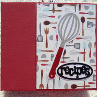 6x6 Red Blue and Black Recipe Book Scrapbook