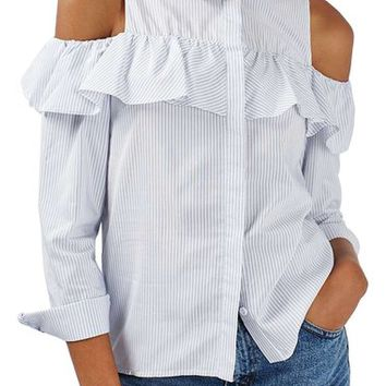 Topshop Stripe Ruffle Cold Shoulder Shirt | Nordstrom