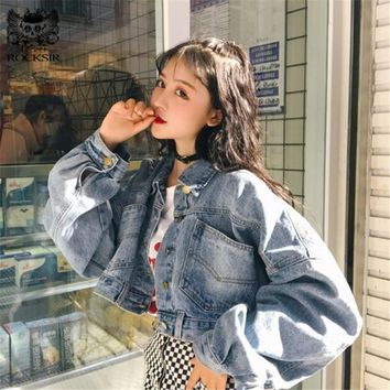 807677b0572 Rocksir 2018 Batwing Short Denim Jacket Women Harajuku Vintage L. Item  Type  Outerwear   Coats ...