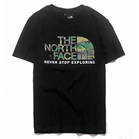 The North Face Summer Fashion New Bust Camouflage Letter Pattern Women Men Top T-Shirt Black