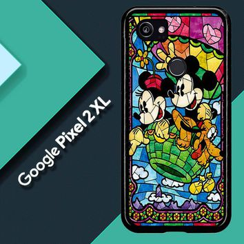 Mickey Minnie Mouse Pluto Disney Stained Glass L2191 Google Pixel 2 XL Custom Case