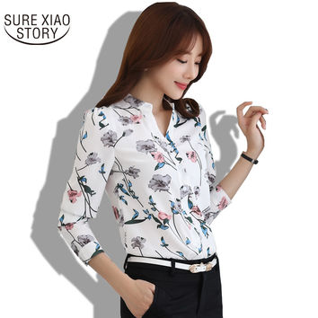 2016 New Fashion printed V- neck shirt plus size women Chiffon Blouse Shirt Female Work Office Tops Blusas 882G