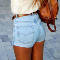 High Waist Jeans Denim Shorts B007841