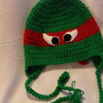 Teenage Mutant Ninja Turtle type crocheted hat