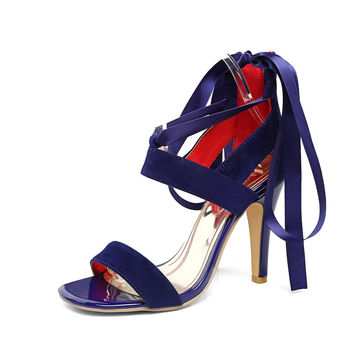 2017 Brand New Sexy Blue Purple Women Sandals Red Rome Gladiator High Heel Lady Slingback Shoes EYS2-1 Plus Big Size 11 31 45