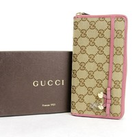 One-nice™ New Authentic Gucci Original GG Canvas Zip Around Wallet w/Bow, 307997 8869