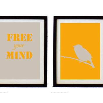 Typographic Print Set - yellow and gray wall decor - bird  illustration set  - free your mind Quote - modern art poster- inspirational print