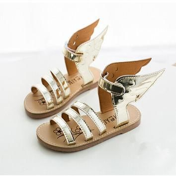 2016 summer fashion Kids Children shoes silver golden shoes wings Girls and Boys shoes