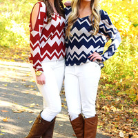 Cold Shoulder Chevron Top - Navy