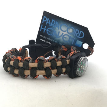 Dark Mars Planet - Paracord Parallel Weave Survival Bracelet with Emergency Whistle/Compass