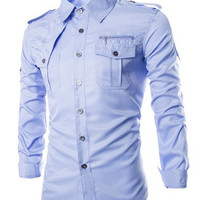 Epaulet and Zipper Design Shirt Collar Long Sleeve Shirt