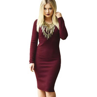 Women Long Sleeve Knitted Wine Red  Bodycon Casual Dress