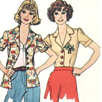 Vintage Sewing Pattern Blouse 70s Puff Sleeve Blouse Collar Yoke size Small Uncut Sewing Pattern McCall's 4502