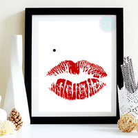 "Boudoir Printable, ""Bombshell"", 8x10, Marilyn Monroe Lips Red with Black Mole Printable, INSTANT DOWNLOAD"