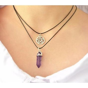 Fashion Natural Stone Crystal Agate Alloy Pentagram Hexagonal Necklace