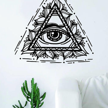 All Seeing Eye Wall Decal Sticker Room Art Vinyl Home House Decor Illuminati Beautiful Boho Nature Flowers