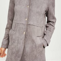 Missguided - Grey Faux Suede Collarless Jacket