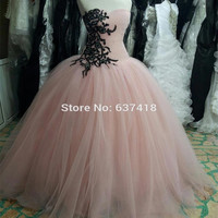 Real Photo  Princess Ball Gown Pink Prom Dress Party Dress with Lace Appliques and Sequins Vestido de Festa Vestidos Longo