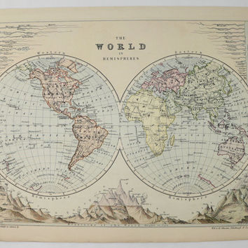 1875 Johnston Map of the World, Hemispheres Map, Antique World Map, Old World Decor, Man Cave Decor Gift for Him