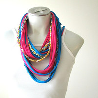 T-shirt necklace, Fabric Necklace, tshirt scarf, Infinity scarf, string scarf, Pink, blue and yellow