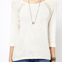 New Look Lace Insert Long Sleeved Top