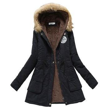 Winter Coat Women New Parka Casual Outwear Military Hooded Thickening Cotton Coat Winter Jacket Fur Coats Women Clothes