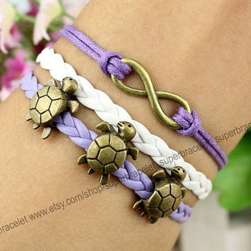 Bronzing small tortoise bracelet - infinity charm bracelet - white - purple leather cord - lucky bracelet - gift for girlfriend and BFF