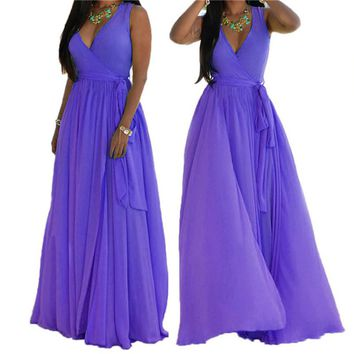 Chiffon Sleeveless Ankle Length Split Maxi Dress S-3XL