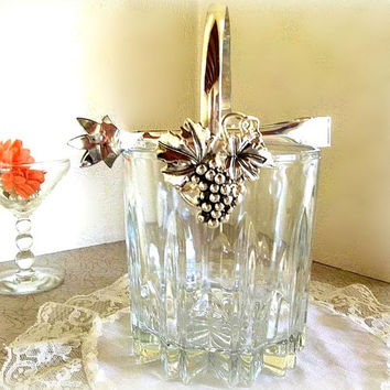 Vintage Godinger Silver Art crystal cut glass and Silver Plated handle & tongs ice bucket, bar ware set, wine chiller barware