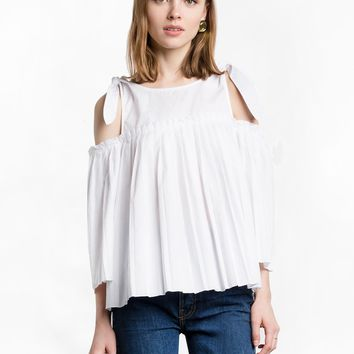 White Shoulder Bow Tie Pleated Top