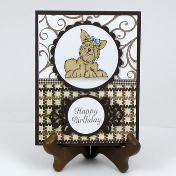 Yorkie Dog Greeting Card, All Occasion, birthday, hand colored, hand stamped, masculine, brown plaid, handmade card