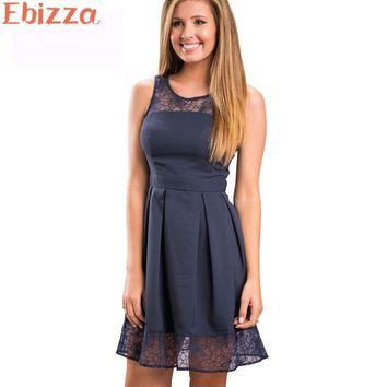 Ebizza Elegant Lace Patchwork Fit And Flare Dress Skinny O Neck Evening Party Dresses Work Cute Sleeveless Famale Vestidos