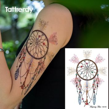 Body art painting color dream catcher butterfly feather big arm shoulder waterproof flash dreamcatcher birds fake women's tattoo