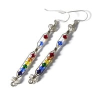 Love Wins Marriage Equality Celebration Sterling Silver Earrings Swarovski Crystal Shoulder Duster Wire Wrapped