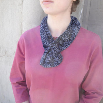 Blue Velvet Scarf, Pull Through, Keyhole, Ascot, Scarflette, Neck Warmer, Knitted, Mother's Day