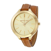 Michael Kors Runway Tan Leather Ladies Watch MK