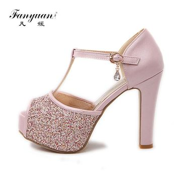 Fanyuan Bling Wedding Shoes Women 2017 Sexy Peep Toe Buckle Strap Summer Pumps Girls High Heels Platform Glitter Shoes Big Size