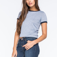 H.I.P. Solid Womens Ringer Tee | Crop Tops