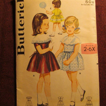 SALE Uncut Butterick Sewing pattern, 2926! Size 3 Toddler/Girls/Kids/Child/Full Flared Dress/Shirley Temple Style/Short Sleeves/Cape Collar