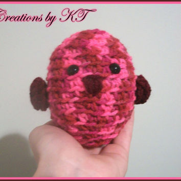 Valentine Love Bird Amigurumi Crocheted Pinks and by CreationsByKT