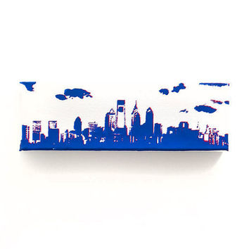 Philadelphia Skyline Canvas: Phillies Edition 1 (White w/ Blue & Red) Screenprint/Painting, Philadelphia Phillies, Philadelphia Wall Art