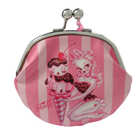 Fluff Pink Hair Pinup Girl at Ice Cream Parlour Kisslock Large Coin Purse Wallet