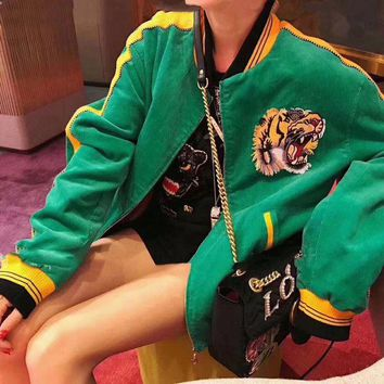 CUPCUPST Gucci' Women Casual Fashion Letter Multicolor Embroidery Tiger Head Cardigan Long Sleeve Cotton-padded Clothes Corduroy Coat