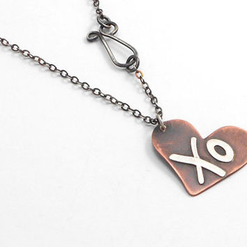 Heart Necklace, Copper and Silver XO Necklace with Sterling Silver Chain and Handmade Silver Clasp, Mixed Metal Jewelry, Oxidized Copper