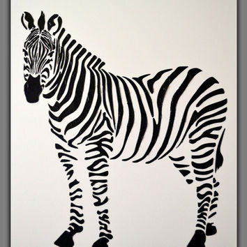 Original 36x24 heavy texture zebra painting large abstract contemporary black and white palette knife impasto fine