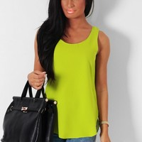Zingy Green Curved Hem Vest Top | Pink Boutique