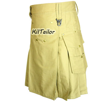 Working Men Khaki Kilt Custom Men
